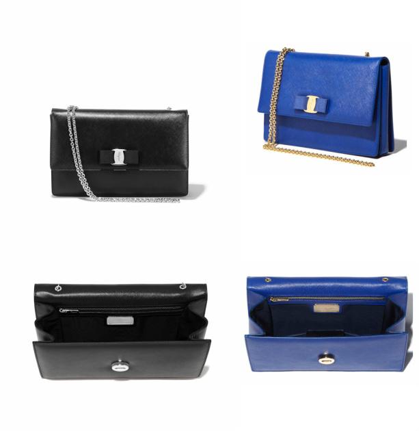 Above: Large Salvatore Ferragamo Vara Flap handbags in Black or Bright Blue