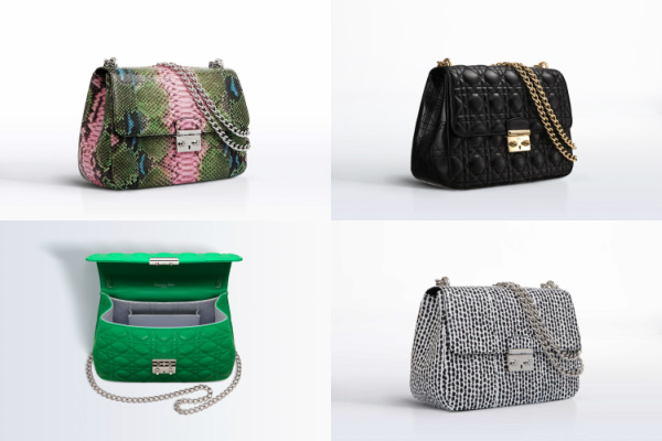 "Top Right: Miss Dior handbag - Hand painted python bag with double push button clasp. Shoulder or cross body strap.  Model # M0214PPBA M924 Specification: 25cm x 18cm x 10cm (9.84"" x 7"" x 3.93"") Top left: Subtle looking black Miss Dior lambskin bag with shoulder or cross-body strap. Model # M0214OGAI M900 Specification: 25 cm x 18 cm x 10 cm  (9.84"" x 7"" x 3.93"") Bottom left: Miss Dior Vert Vif Lambskin with shoulder or cross body strap. Model # M0214PGAI M690 Specification: 25 cm x 18 cm x 10 cm  (9.84"" x 7"" x 3.93"") Bottom right: Miss Dior's Black and white printed ayers with shoulder or cross body strap. Model # M0214PAYS M911 Specification: 25 cm x 18 cm x 10 cm  (9.84"" x 7"" x 3.93"")"