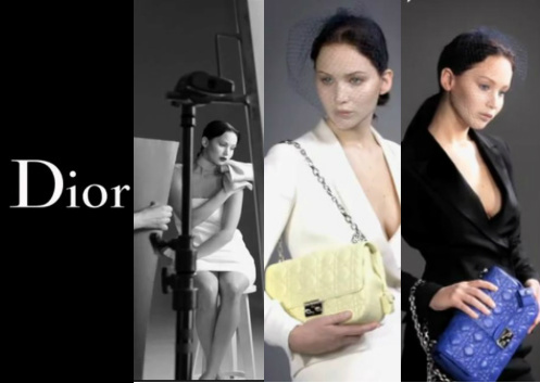 Jennifer Lawrence in various poses for the Dior handbags in her 3rd campaign for the French designer giant. Source: Dior.com