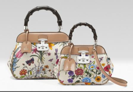 bamboo caned top handle floral bag by gucci