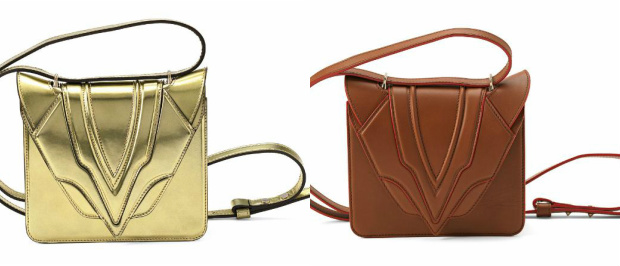 Left-Right: Elena Ghisellini Luli Alien Gold Bag and Luli Nappa Cotto Brown Shoulder Bag