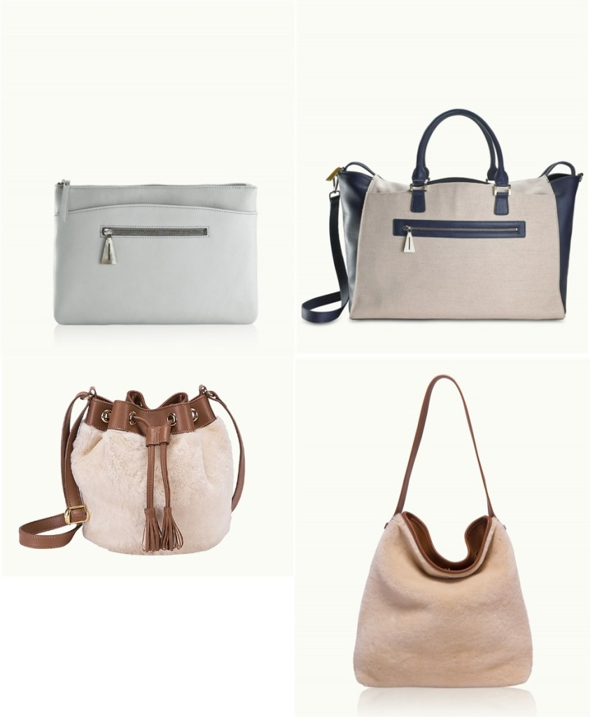 "Nina Griscom for GiGi New York Collection Top Left: Alex Uber Clutch made from gray calfskin leather 13 1/4"" W x 9 1/4"" H. Retails: $380.00 Top Right: The Weekender - gray calf-skin leather 23"" L x 15""H x 8.5""W Retails: $2,450.00 Bottom Left: Frances Bucket Bag - Shearling Body with Cognac Calfskin Trim 9"" H x 9 1/2"" W x 5 1/4"" D. Retails: $675.00 Bottom Right: Zulu - Tan Shearling Leather 13 1/2"" H x 12"" W x 2"" D. Retails: $475.00"