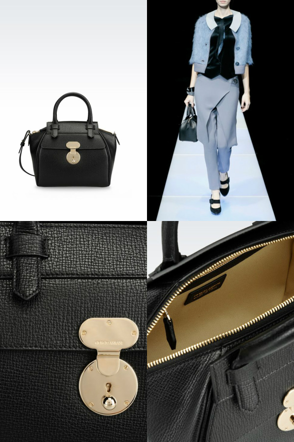 "Small Bauletto bag in black. Size: 5.9"" (D) x 8.2"" (H) x 9.4"" (W). Retails: $1.845.00. Courtesy: armani.com"