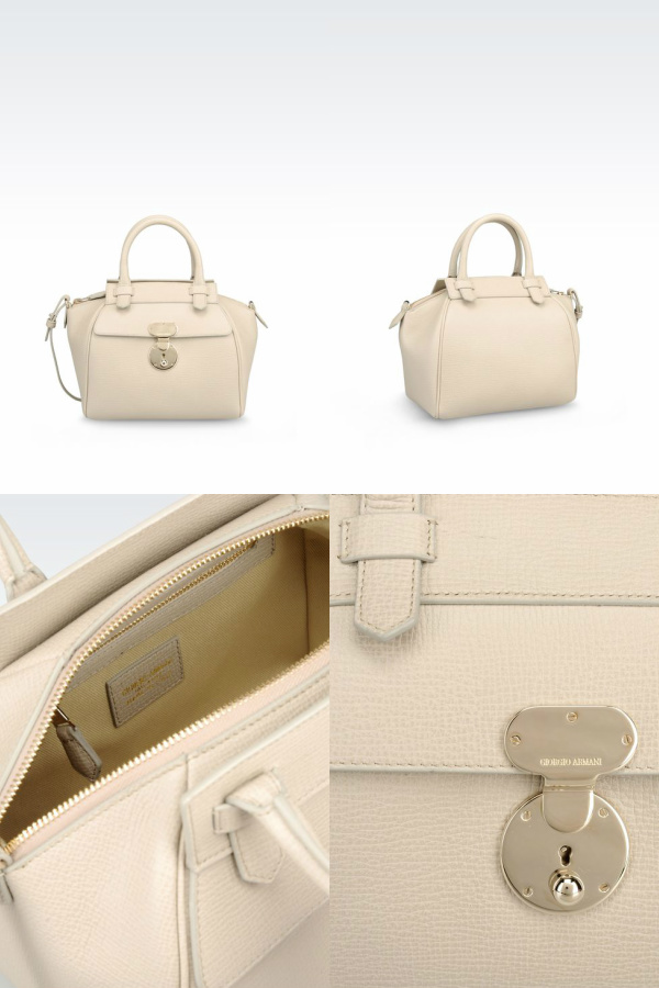 "Dove Gray small Bauletto bag measuring 5.5"" (D) x 7.8"" (H) x 10.9"" (W). Retails $1,845.00. Courtesy: armani.com"
